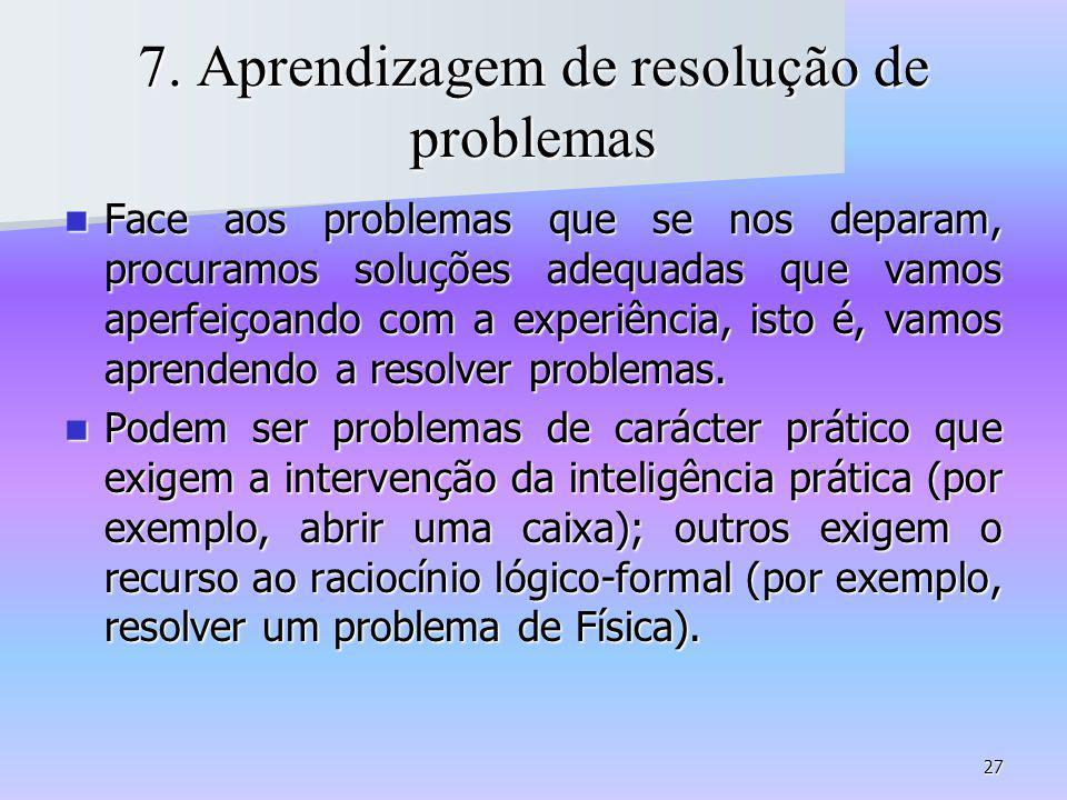 7. Aprendizagem de resolução de problemas