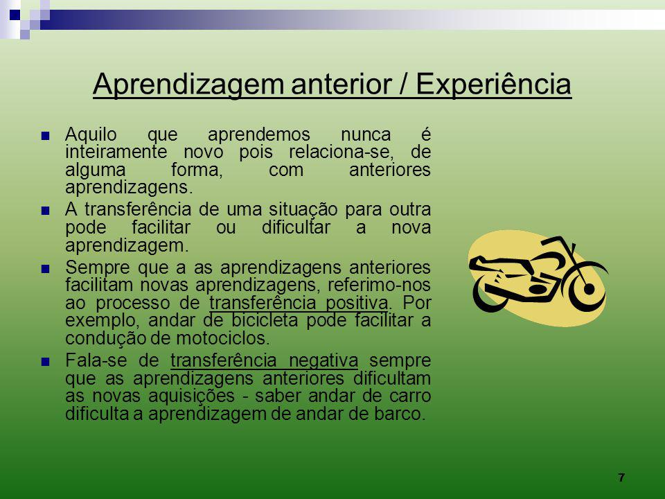 Aprendizagem anterior / Experiência