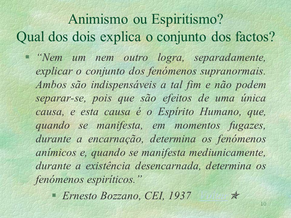 Animismo ou Espiritismo Qual dos dois explica o conjunto dos factos