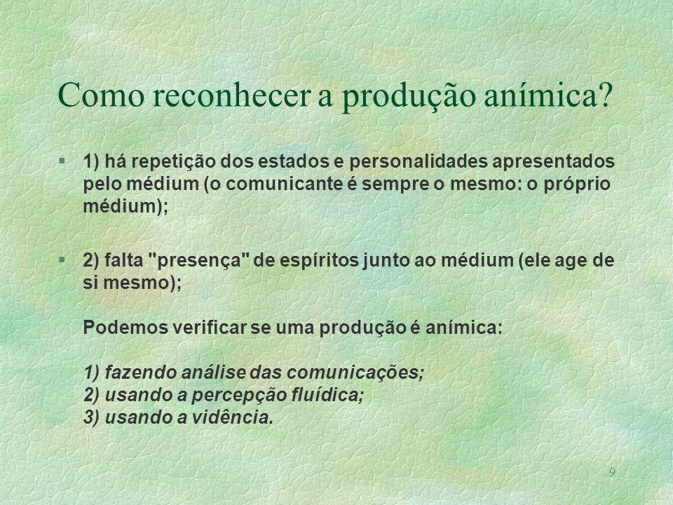 Como reconhecer a produção anímica