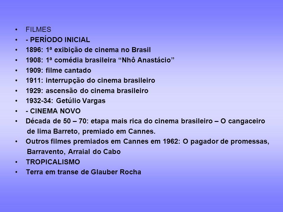 FILMES - PERÍODO INICIAL. 1896: 1ª exibição de cinema no Brasil. 1908: 1ª comédia brasileira Nhô Anastácio