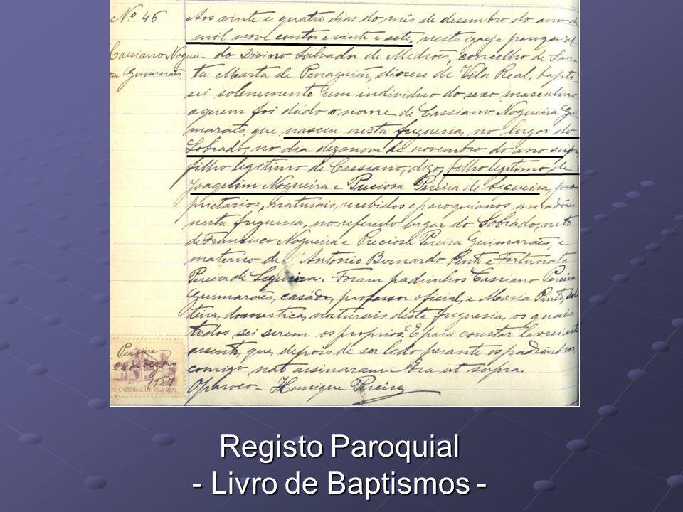 Registo Paroquial - Livro de Baptismos -