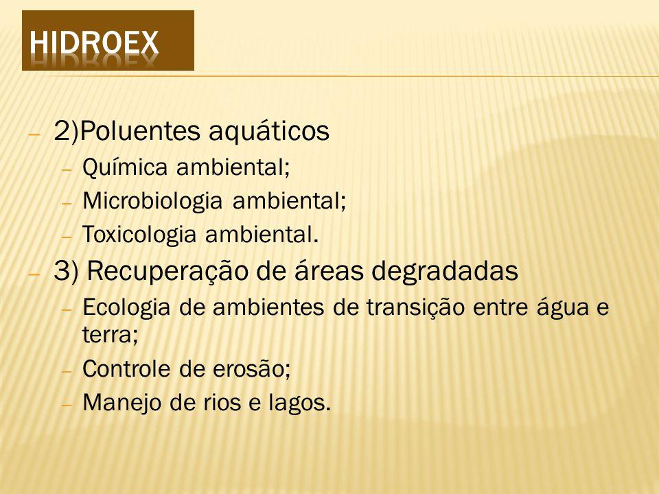 HIDROEX 2)Poluentes aquáticos 3) Recuperação de áreas degradadas