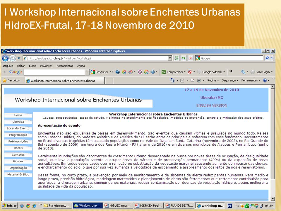 I Workshop Internacional sobre Enchentes Urbanas