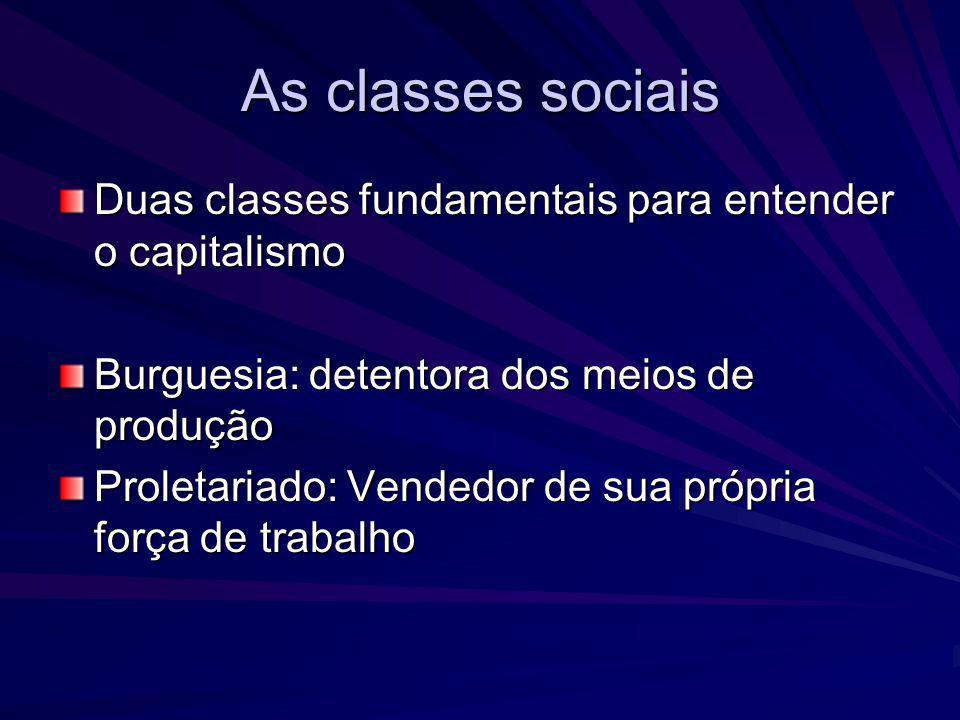 As classes sociais Duas classes fundamentais para entender o capitalismo. Burguesia: detentora dos meios de produção.