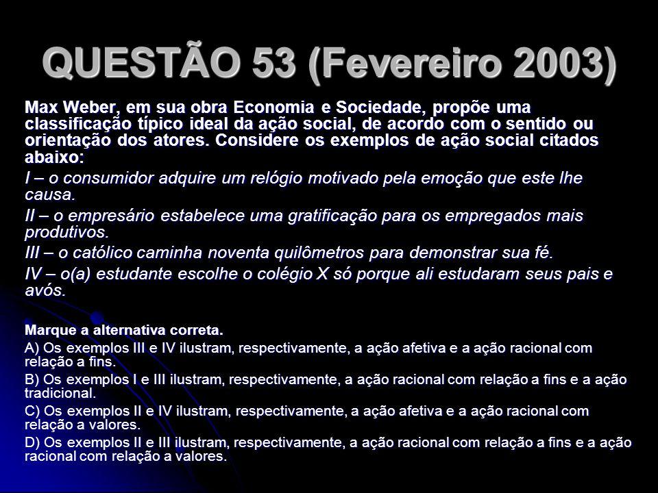 QUESTÃO 53 (Fevereiro 2003)
