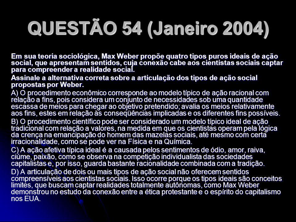 QUESTÃO 54 (Janeiro 2004)