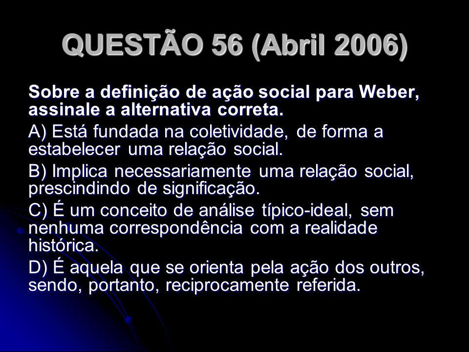QUESTÃO 56 (Abril 2006) Sobre a definição de ação social para Weber, assinale a alternativa correta.
