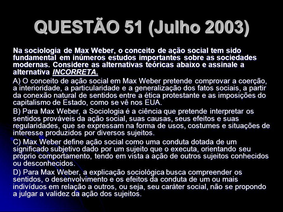 QUESTÃO 51 (Julho 2003)