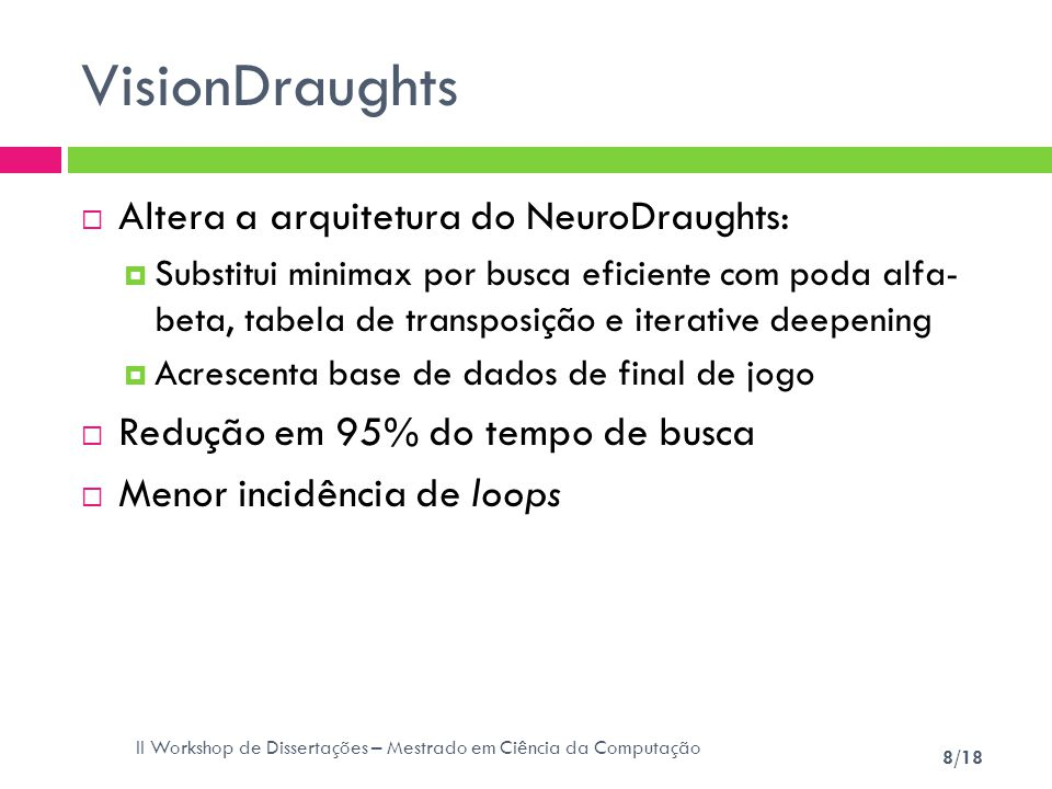 VisionDraughts Altera a arquitetura do NeuroDraughts:
