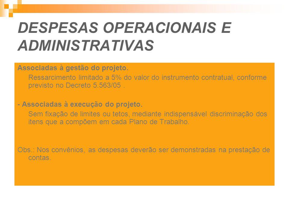DESPESAS OPERACIONAIS E ADMINISTRATIVAS