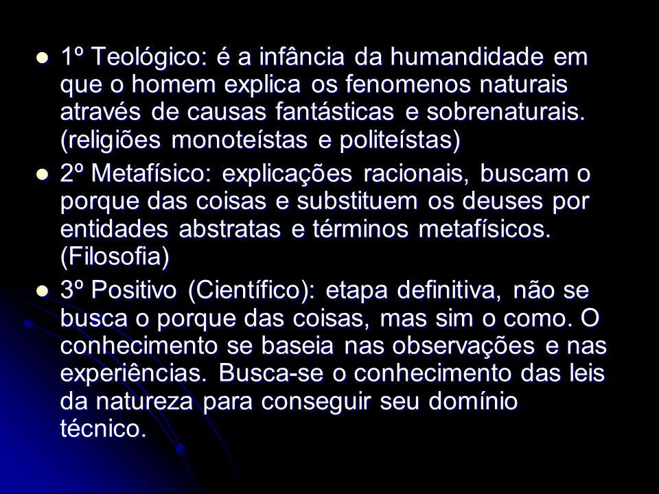 1º Teológico: é a infância da humandidade em que o homem explica os fenomenos naturais através de causas fantásticas e sobrenaturais. (religiões monoteístas e politeístas)