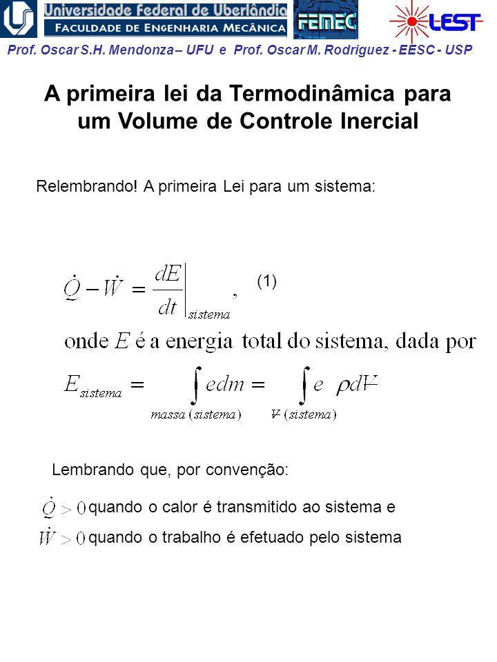 A primeira lei da Termodinâmica para um Volume de Controle Inercial