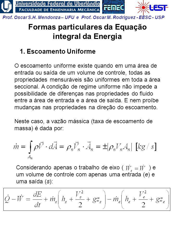 Formas particulares da Equação integral da Energia