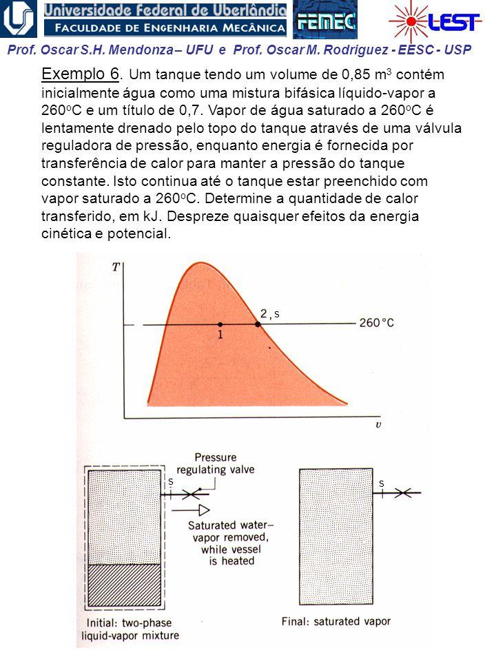 Exemplo 6. Um tanque tendo um volume de 0,85 m3 contém inicialmente água como uma mistura bifásica líquido-vapor a 260oC e um título de 0,7. Vapor de água saturado a 260oC é lentamente drenado pelo topo do tanque através de uma válvula reguladora de pressão, enquanto energia é fornecida por transferência de calor para manter a pressão do tanque constante. Isto continua até o tanque estar preenchido com vapor saturado a 260oC. Determine a quantidade de calor transferido, em kJ. Despreze quaisquer efeitos da energia cinética e potencial.