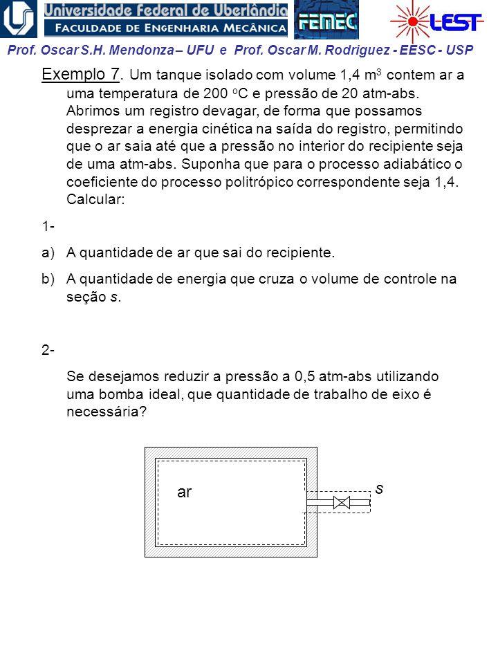 Exemplo 7. Um tanque isolado com volume 1,4 m3 contem ar a uma temperatura de 200 oC e pressão de 20 atm-abs. Abrimos um registro devagar, de forma que possamos desprezar a energia cinética na saída do registro, permitindo que o ar saia até que a pressão no interior do recipiente seja de uma atm-abs. Suponha que para o processo adiabático o coeficiente do processo politrópico correspondente seja 1,4. Calcular: