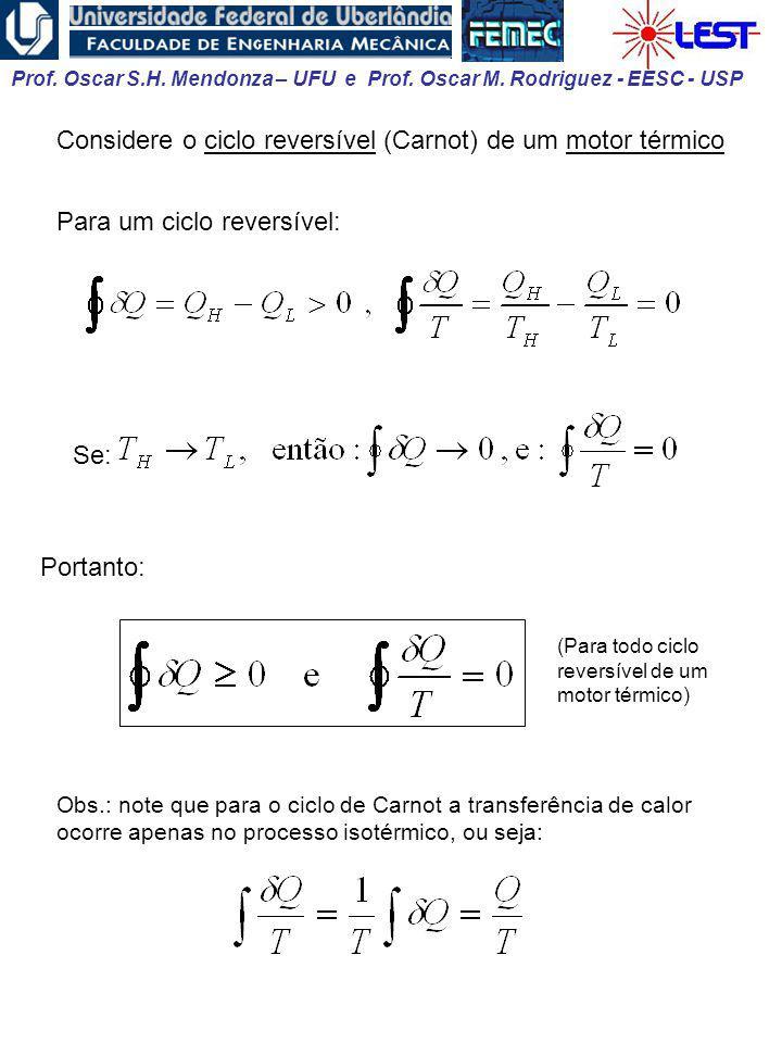 Considere o ciclo reversível (Carnot) de um motor térmico