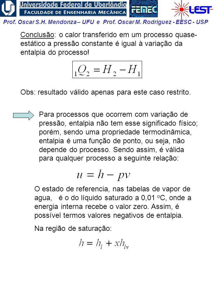 Conclusão: o calor transferido em um processo quase-estático a pressão constante é igual à variação da entalpia do processo!