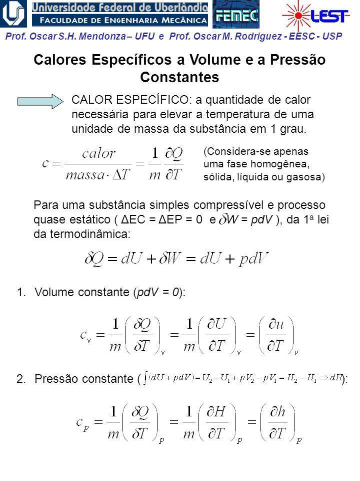 Calores Específicos a Volume e a Pressão Constantes