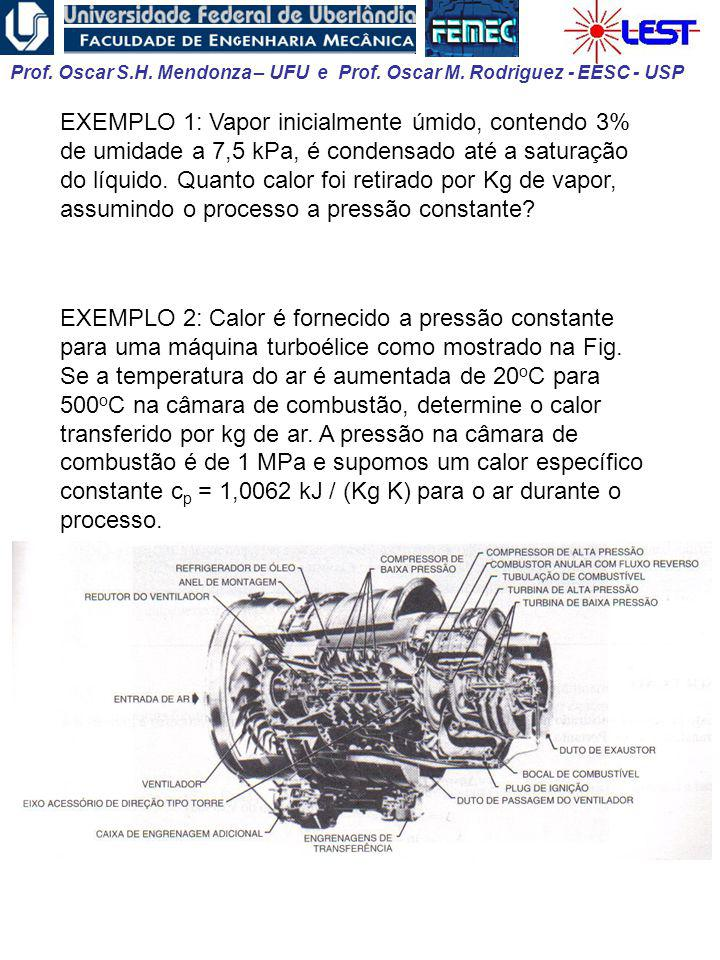 EXEMPLO 1: Vapor inicialmente úmido, contendo 3% de umidade a 7,5 kPa, é condensado até a saturação do líquido. Quanto calor foi retirado por Kg de vapor, assumindo o processo a pressão constante