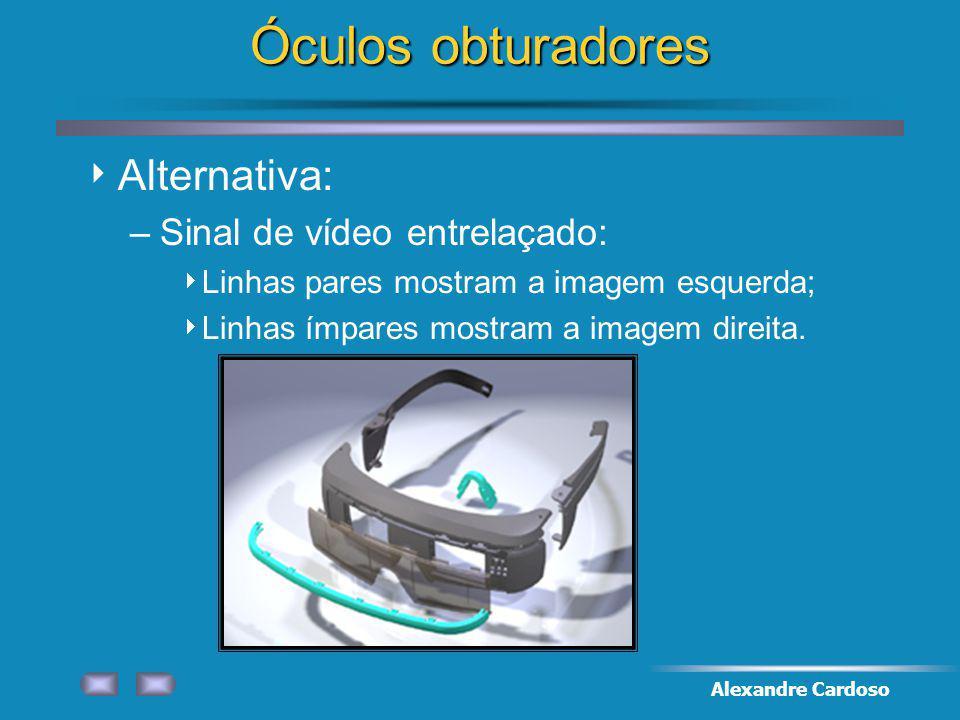 Óculos obturadores Alternativa: Sinal de vídeo entrelaçado: