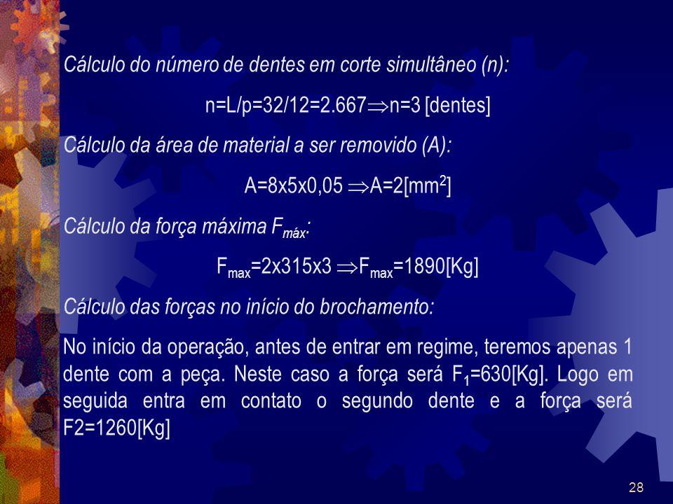Cálculo do número de dentes em corte simultâneo (n):