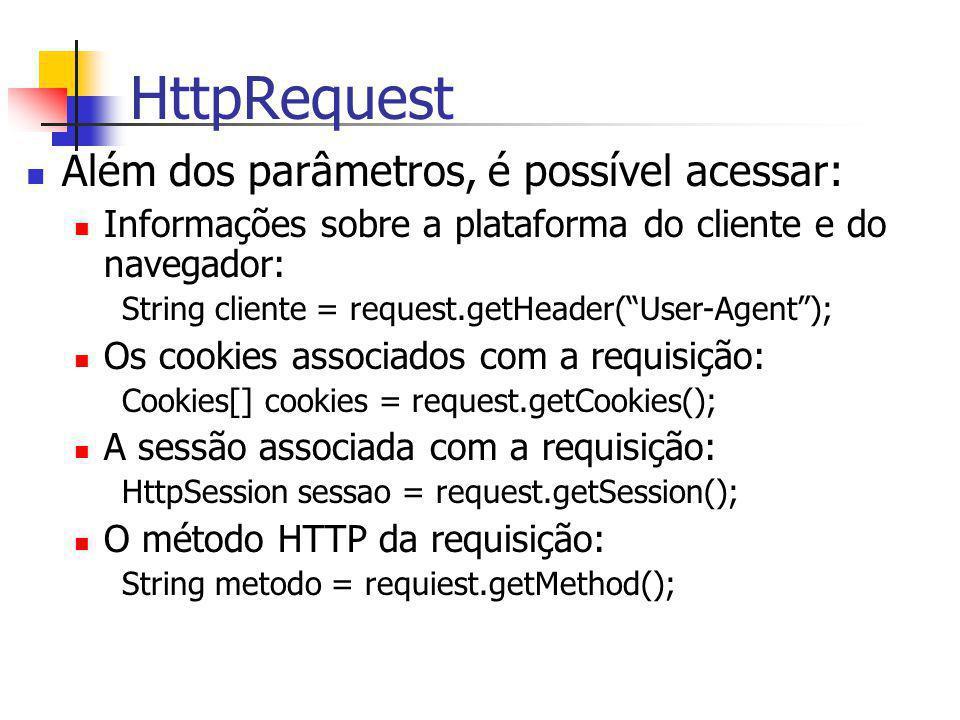 HttpRequest Além dos parâmetros, é possível acessar: