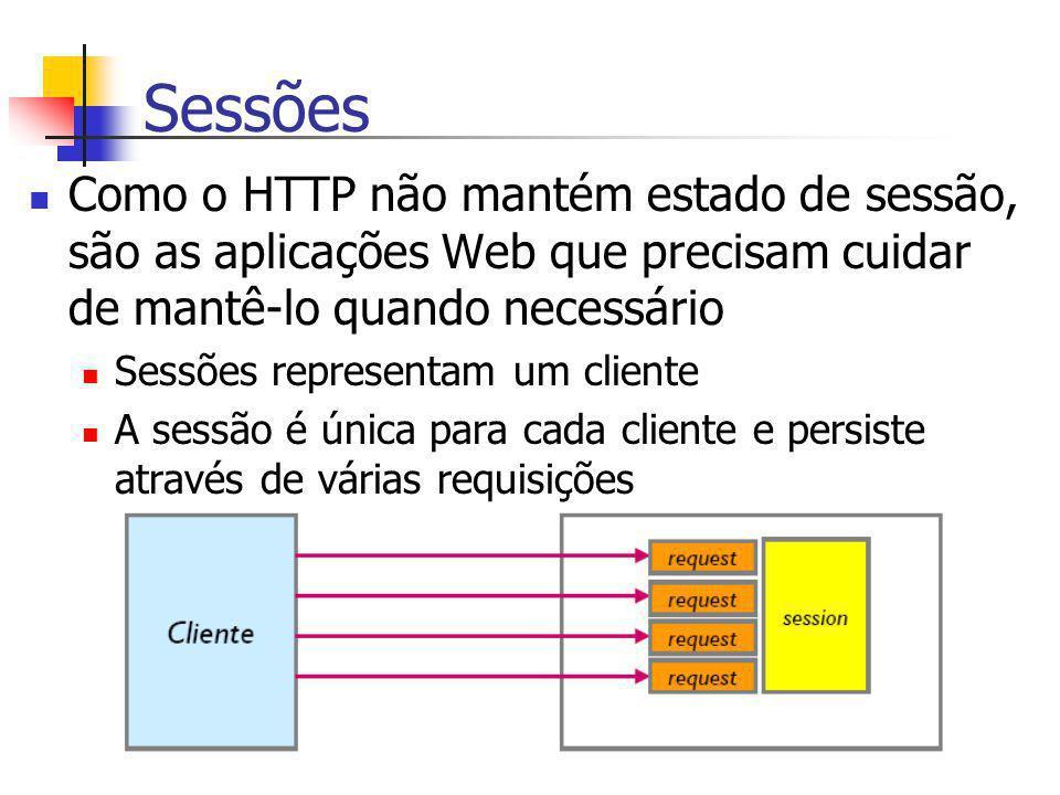 Sessões Como o HTTP não mantém estado de sessão, são as aplicações Web que precisam cuidar de mantê-lo quando necessário.
