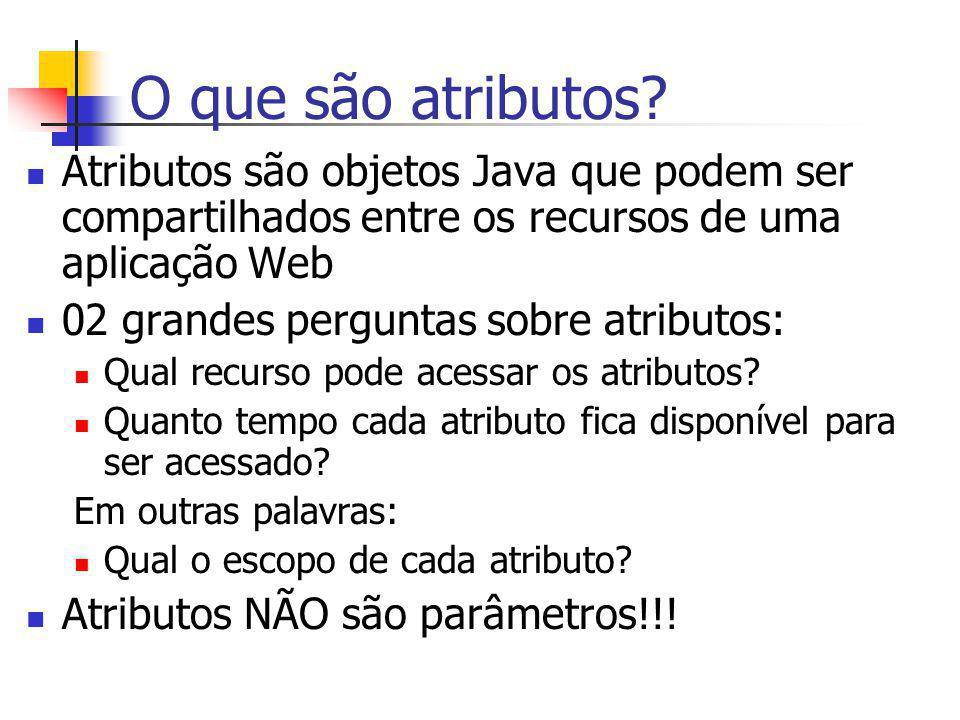 O que são atributos Atributos são objetos Java que podem ser compartilhados entre os recursos de uma aplicação Web.