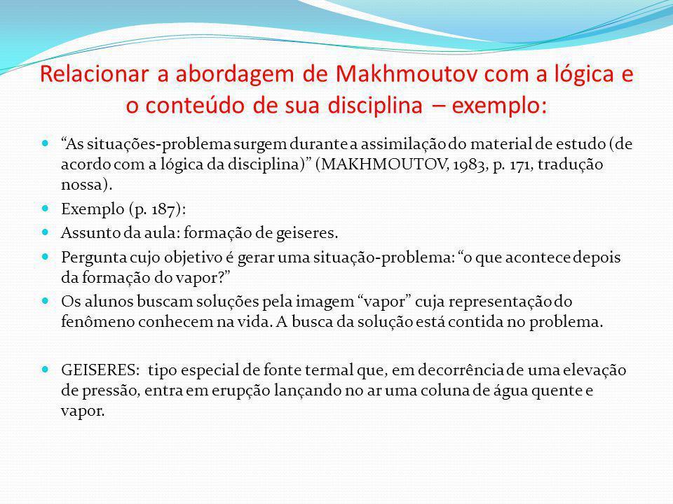 Relacionar a abordagem de Makhmoutov com a lógica e o conteúdo de sua disciplina – exemplo: