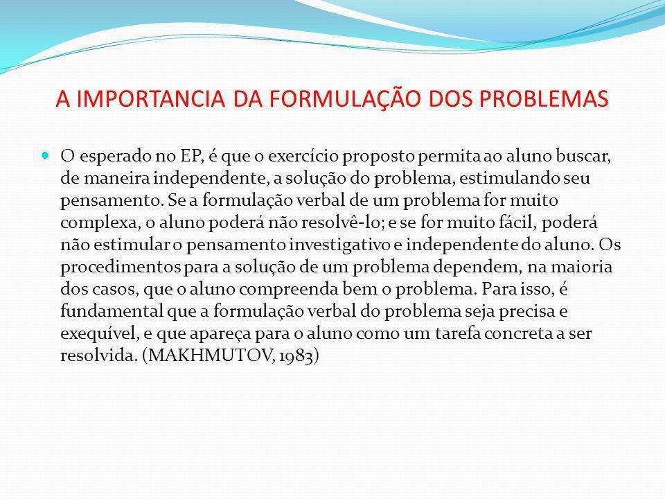 A IMPORTANCIA DA FORMULAÇÃO DOS PROBLEMAS