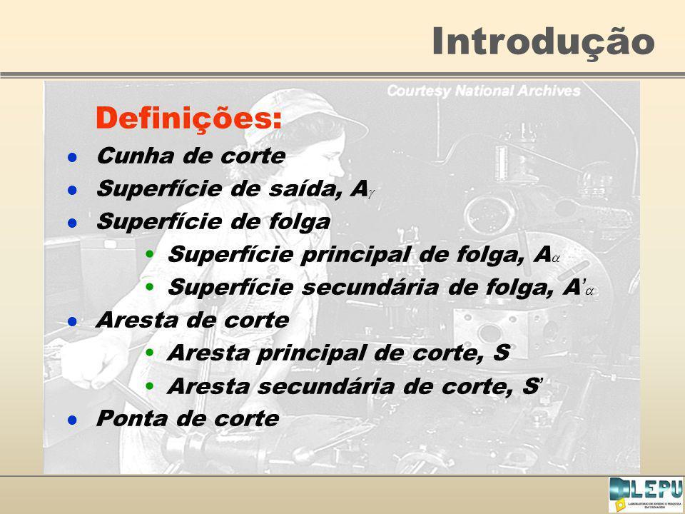 Introdução Definições: Cunha de corte Superfície de saída, A