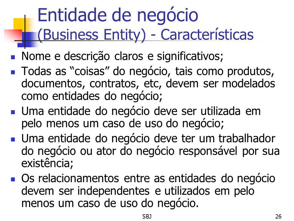 Entidade de negócio (Business Entity) - Características