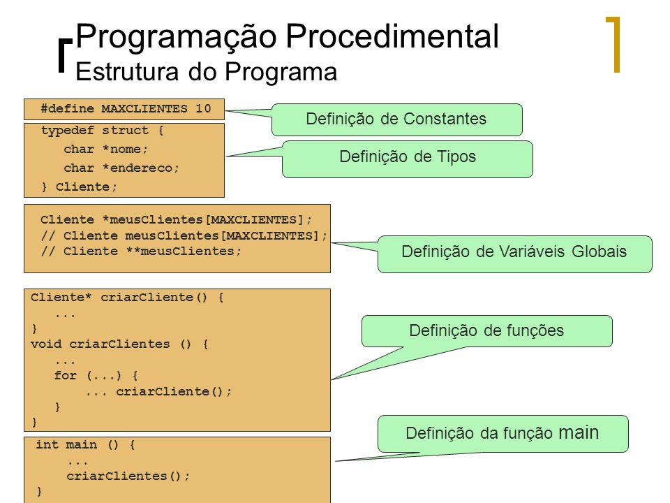 Programação Procedimental Estrutura do Programa