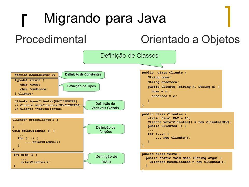 Migrando para Java Procedimental Orientado a Objetos