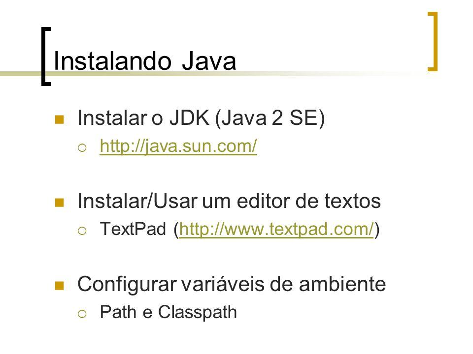Instalando Java Instalar o JDK (Java 2 SE)