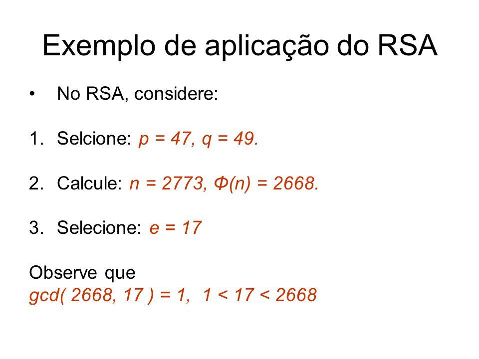 Exemplo de aplicação do RSA