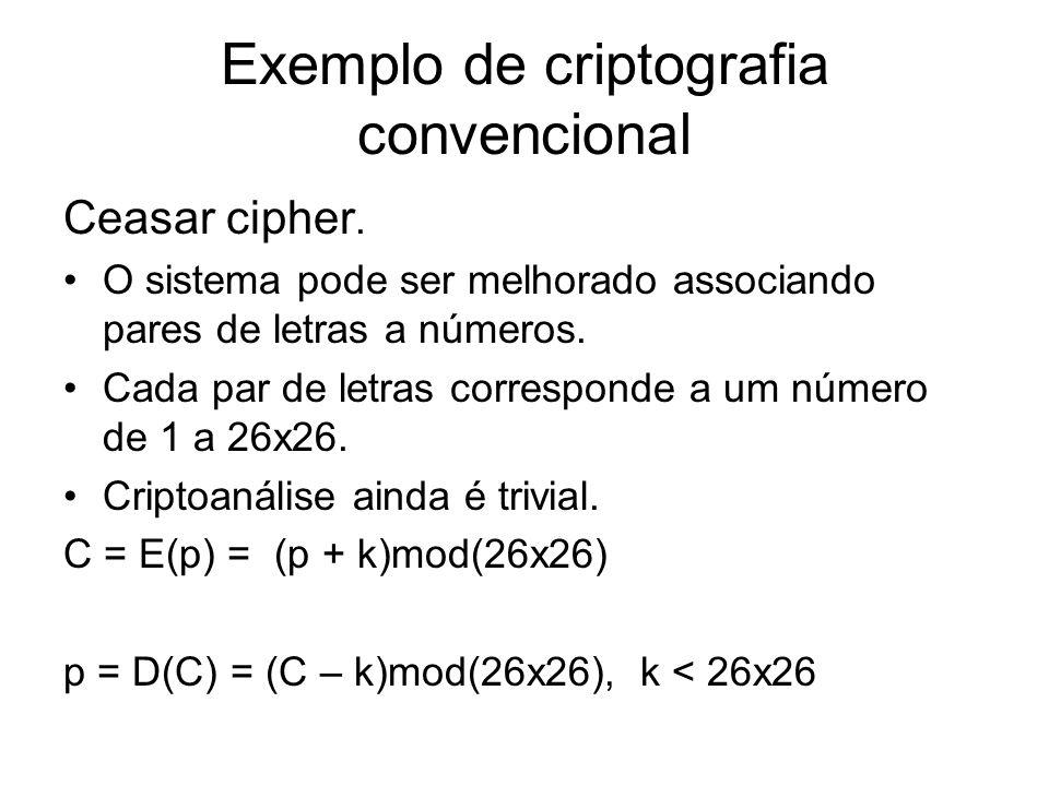 Exemplo de criptografia convencional