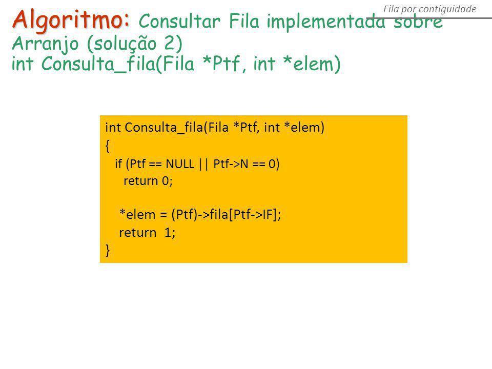 Algoritmo: Consultar Fila implementada sobre Arranjo (solução 2)
