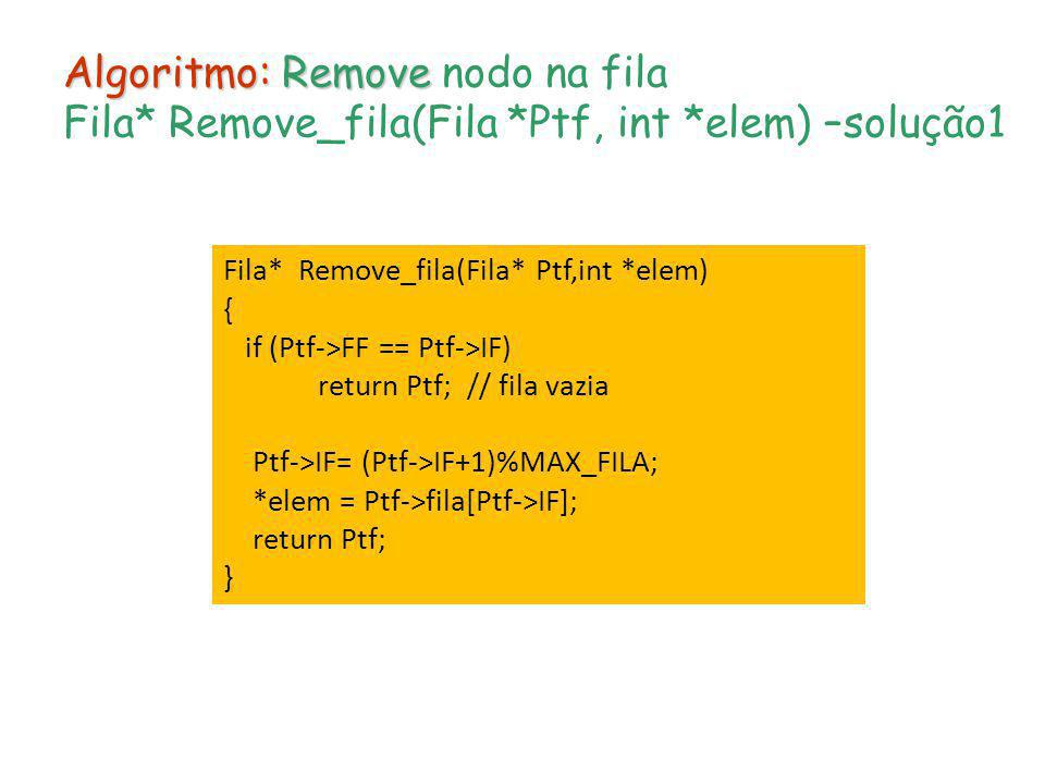 Algoritmo: Remove nodo na fila Fila. Remove_fila(Fila. Ptf, int
