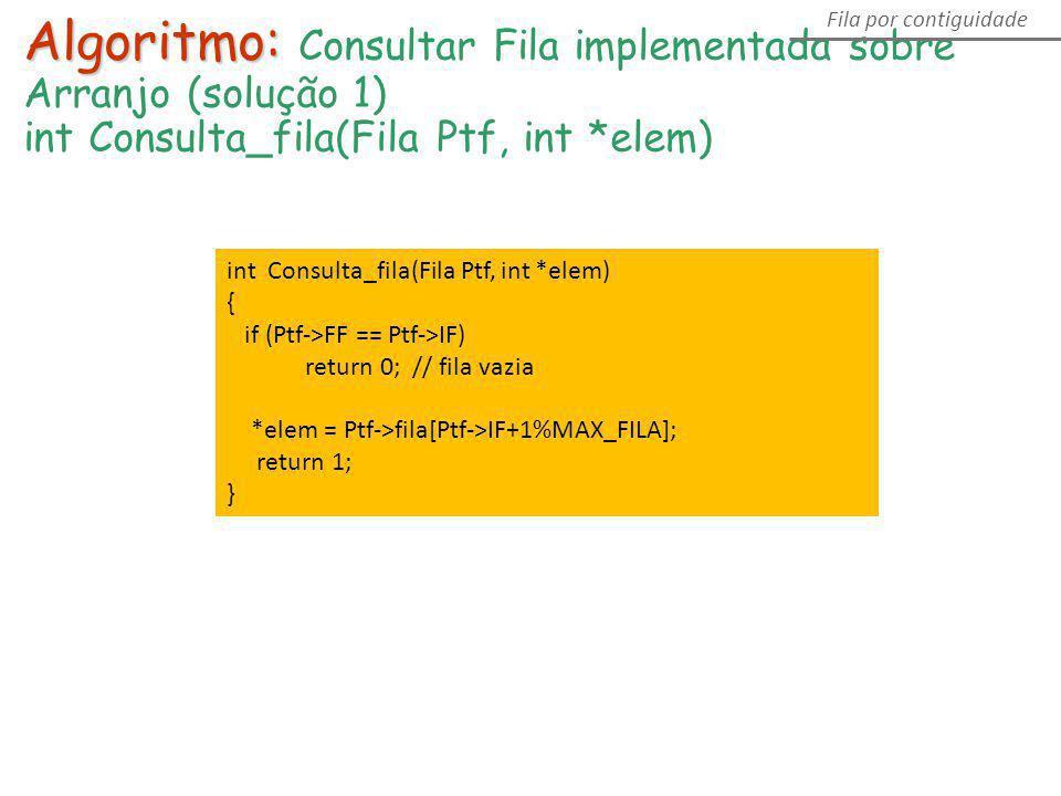 Algoritmo: Consultar Fila implementada sobre Arranjo (solução 1)