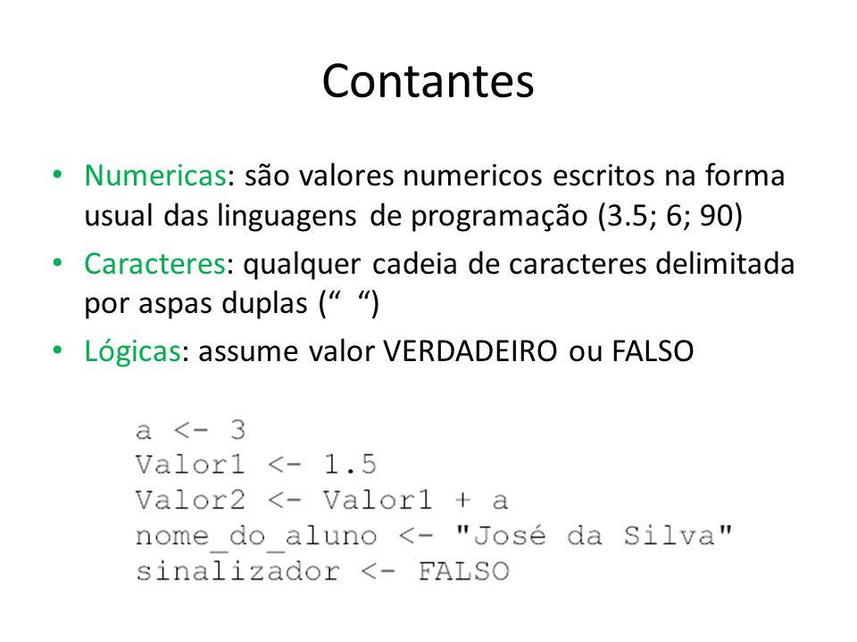 Contantes Numericas: são valores numericos escritos na forma usual das linguagens de programação (3.5; 6; 90)