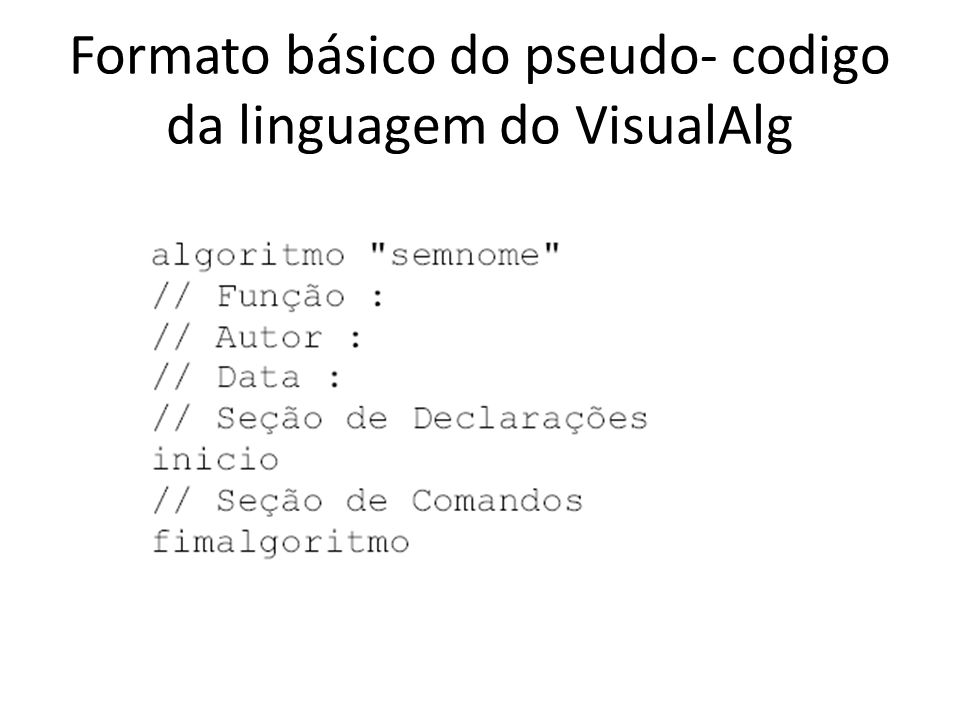 Formato básico do pseudo- codigo da linguagem do VisualAlg