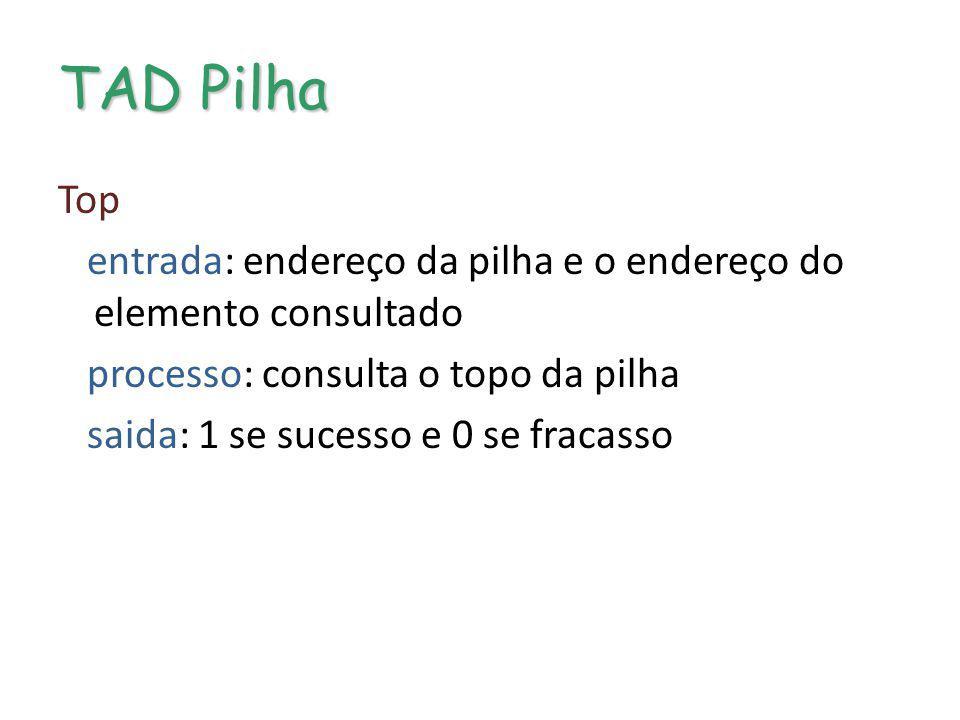 TAD Pilha Top entrada: endereço da pilha e o endereço do elemento consultado processo: consulta o topo da pilha saida: 1 se sucesso e 0 se fracasso