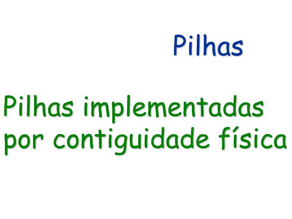 Pilhas Pilhas implementadas por contiguidade física