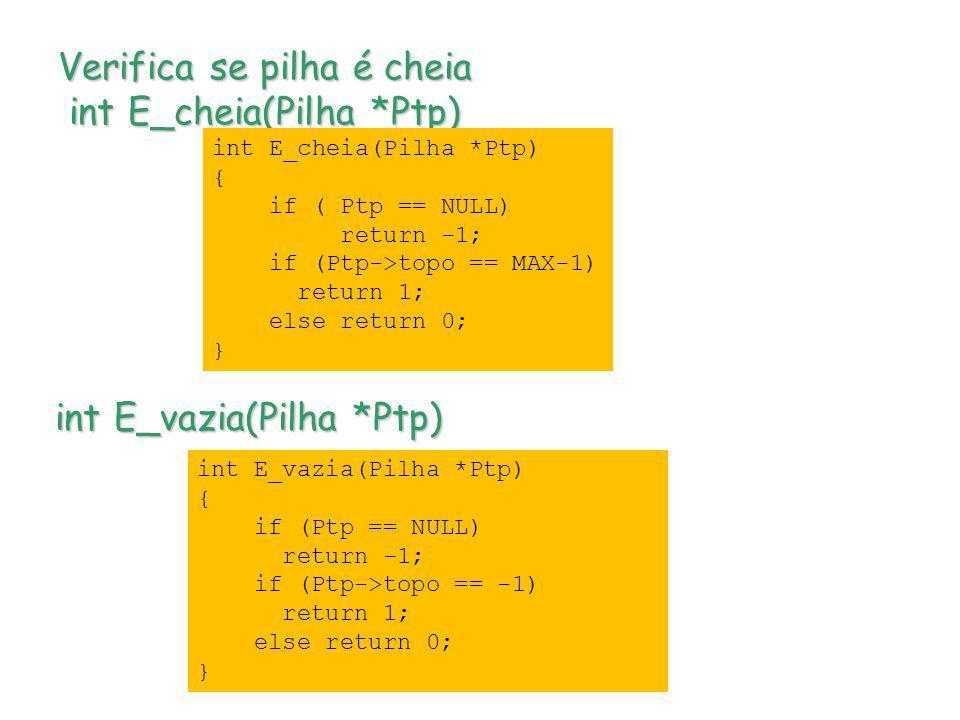 Verifica se pilha é cheia int E_cheia(Pilha *Ptp)