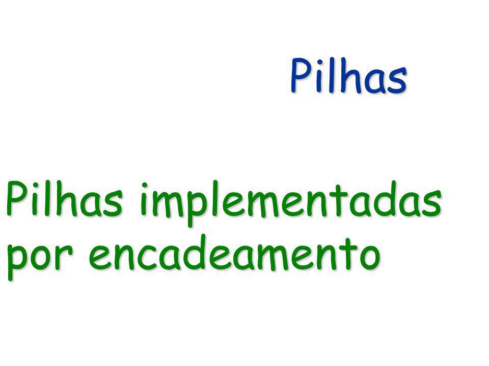 Pilhas Pilhas implementadas por encadeamento