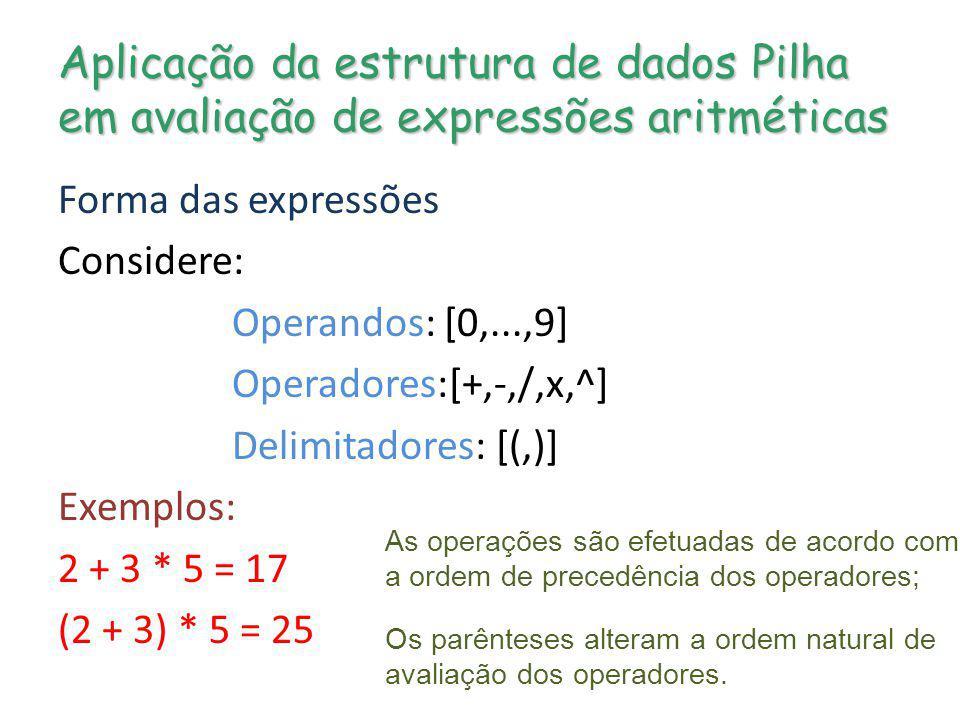 Aplicação da estrutura de dados Pilha em avaliação de expressões aritméticas
