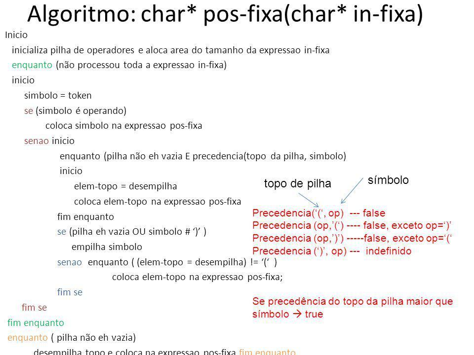 Algoritmo: char* pos-fixa(char* in-fixa)