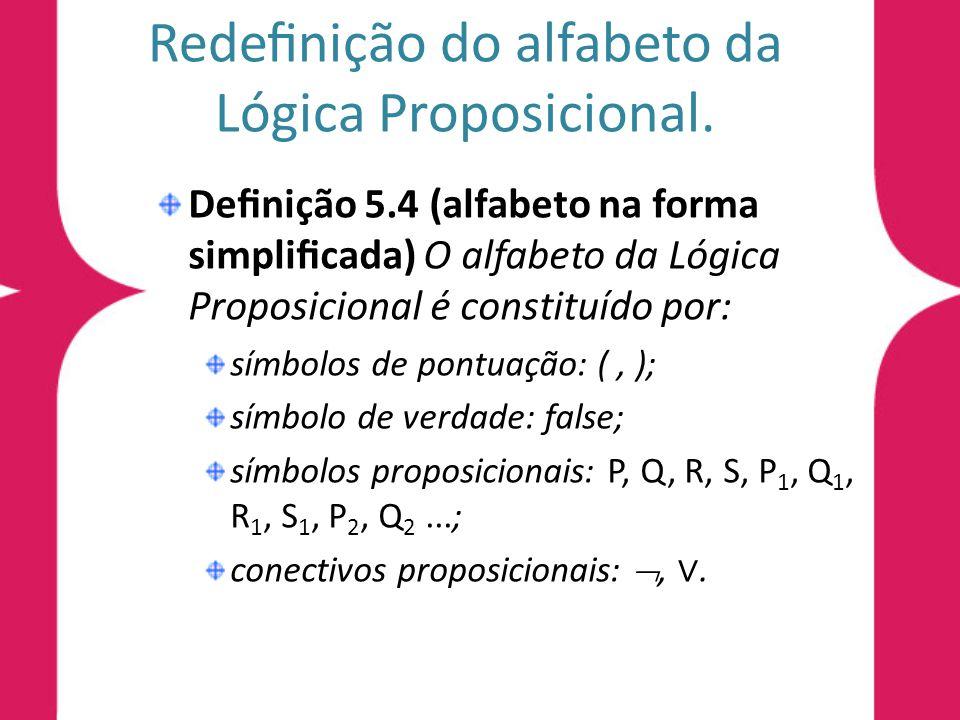 Redefinição do alfabeto da Lógica Proposicional.